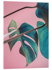Verre acrylique  Sweet pink monstera leaves - Emanuela Carratoni