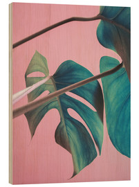 Bois  Sweet pink monstera leaves - Emanuela Carratoni
