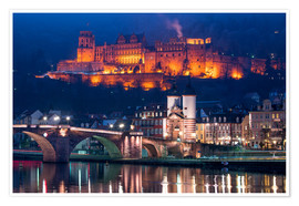 Poster  Castle and Old Bridge at night, Heidelberg, Baden-Wurttemberg, Germany - Jan Christopher Becke