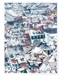 Poster  Snowy rooftops in the old town of Heidelberg - Jan Christopher Becke