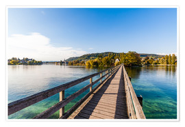 Poster  Bridge to the monastery Werd on Lake Constance in Switzerland - Dieterich Fotografie