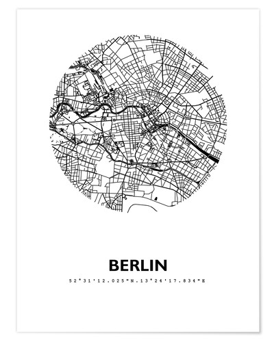 posters affiches de plan de la ville de berlin posterlounge. Black Bedroom Furniture Sets. Home Design Ideas