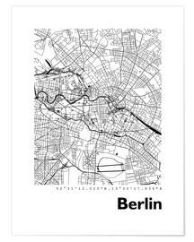 Poster  Plan de la ville de Berlin - 44spaces