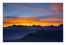 Poster  Colorful sky at sunset over the Alps - Fabio Lamanna