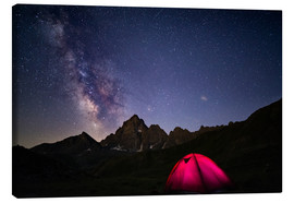 Toile  Glowing camping tent under starry sky on the Alps - Fabio Lamanna