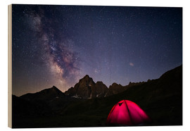 Tableau en bois  Glowing camping tent under starry sky on the Alps - Fabio Lamanna