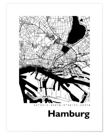 Poster  Plan de la ville de Hambourg - 44spaces
