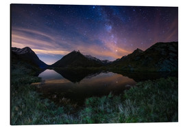 Tableau en aluminium  The Milky Way Galaxy reflected on alpine lake - Fabio Lamanna