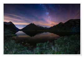 Poster The Milky Way Galaxy reflected on alpine lake