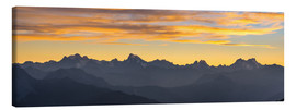 Tableau sur toile  The Alps at sunset, ultra wide panoramic view - Fabio Lamanna