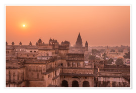 Poster Orchha city at sunset, India