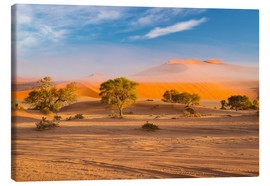 Tableau sur toile  Morning mist over sand dunes and Acacia trees at Sossusvlei, Namibia - Fabio Lamanna