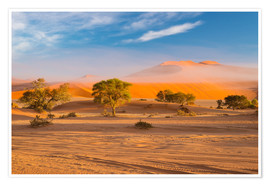 Poster Morning mist over sand dunes and Acacia trees at Sossusvlei, Namibia