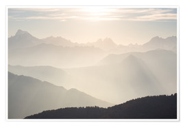 Poster  Sunlight behind mountain peaks silhouette, the Alps. - Fabio Lamanna