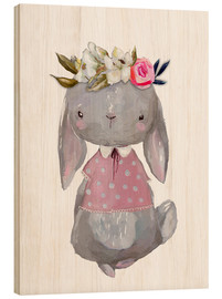 Tableau en bois  Summer bunny with flowers in her hair - Kidz Collection