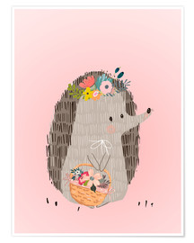 Poster  Mrs. hedgehog with basket - Kidz Collection