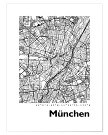 Poster  Plan de la ville de Munich (allemand) - 44spaces
