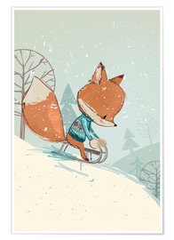Poster  Renard sur sa luge - Kidz Collection