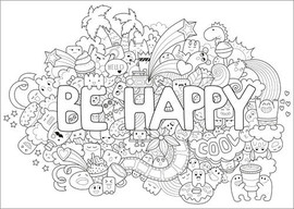 Coloriage Adulte Effet.Posters A Colorier Be Happy