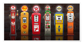 Poster Vintage Gas Pumps