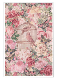 Poster Vintage Bird Cage And Roses