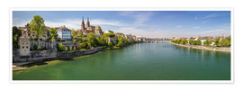 Poster Panorama Basel old town on the Rhine (Switzerland)