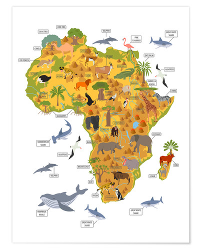 Poster Les animaux africains (anglais)