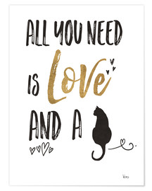 Poster  All you need is love and a cat (anglais) - Veronique Charron