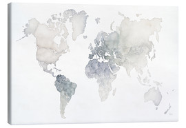 Toile  Mappemonde aquarelle - Laura Marshall