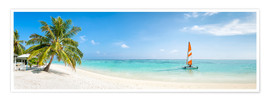 Poster  Maldives beach panorama with sailboat - Jan Christopher Becke