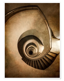 Poster Spiral staircase in brown colors