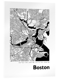 Verre acrylique  Plan de ville de Boston - 44spaces