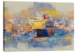 Tableau sur toile  Hamburg Queen Mary II, in the background the Elbphilharmonie - Peter Roder