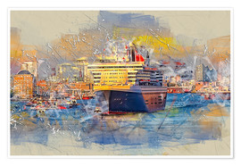 Poster  Hamburg Queen Mary II, in the background the Elbphilharmonie - Peter Roder