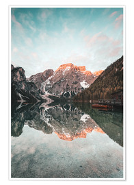 Poster Sunrise at the braies lake