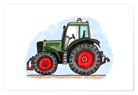 Poster  Le tracteur d'Hugo - Hugos Illustrations