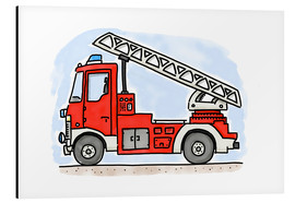 Alu-Dibond  Hugos fire department cart - Hugos Illustrations