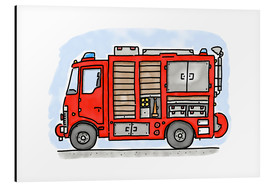 Alu-Dibond  Hugos fire department emergency vehicle - Hugos Illustrations