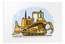 Tableau en PVC  Le bulldozer d'Hugo - Hugos Illustrations