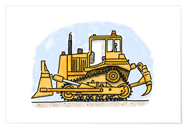 Poster  Le bulldozer d'Hugo - Hugos Illustrations