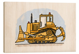 Tableau en bois  Le bulldozer d'Hugo - Hugos Illustrations