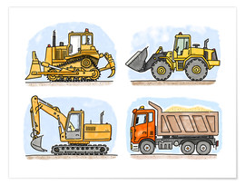 Poster  Le chantier de Hugo - Hugos Illustrations