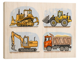 Tableau en bois  Le chantier de Hugo - Hugos Illustrations