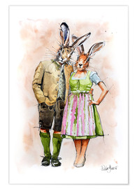 Poster  RABBIT PAIR - Peter Guest