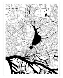Poster  Hamburg Germany Map - Main Street Maps
