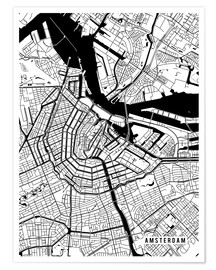 Poster  Amsterdam Netherlands Map - Main Street Maps