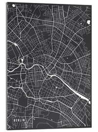 Verre acrylique  Berlin Germany Map - Main Street Maps