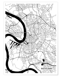 Poster  Dusseldorf Germany Map - Main Street Maps