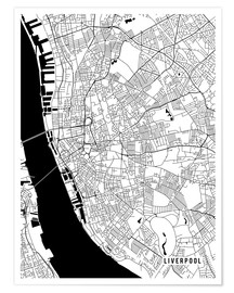 Poster Liverpool England Map