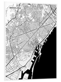 Tableau en PVC  Carte de Barcelone - Main Street Maps